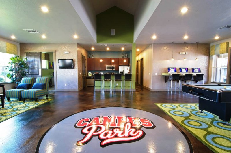 Residential epoxy floors with logo design